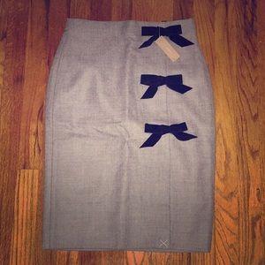 J. Crew Grey Velvet Bow Skirt